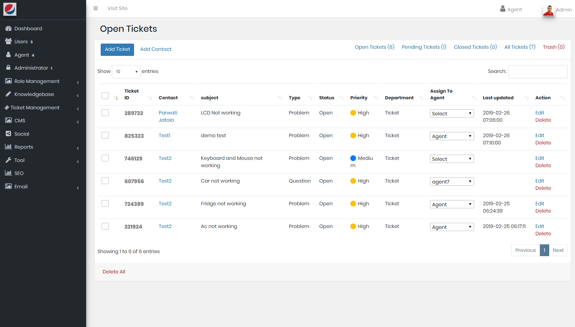 CRM Software list of open tickets